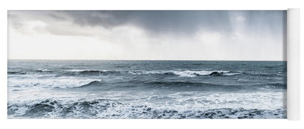 A Woman In The Sea On A Stormy Day  Yoga Mat