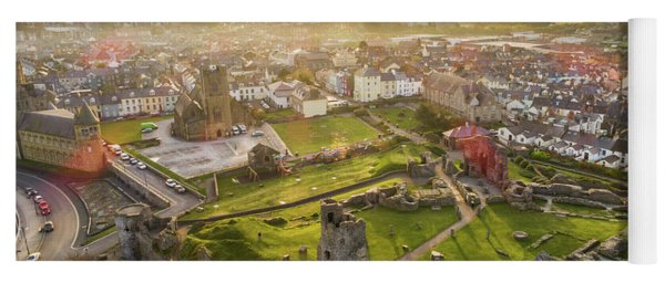 Aberystwyth Castle From The Air At Dawn Yoga Mat