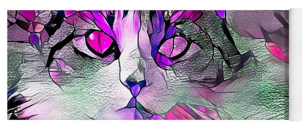 Abstract Calico Cat Purple Glass Yoga Mat