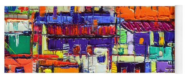 Abstract City Patterns Tep A8 Textural Impasto Palette Knife Oil Cityscape By Ana Maria Edulescu Yoga Mat