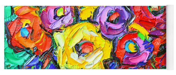 Abstract Colorful Roses Impasto Textural Palette Knife Oil Painting Flowers Art Ana Maria Edulescu Yoga Mat