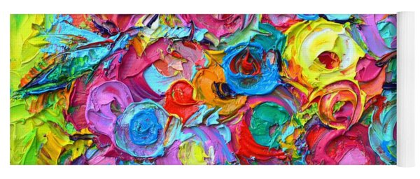Abstract Colorful Wild Roses Modern Impressionist Textural Impasto Knife Painting Ana Maria Edulescu Yoga Mat