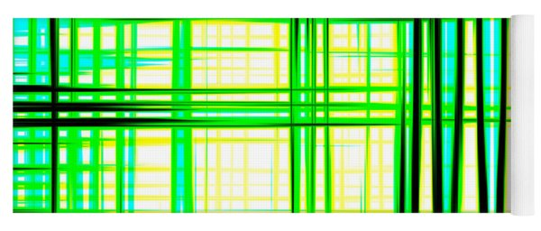 Abstract Design With Lines Squares In Green Color Waves - Pl409 Yoga Mat