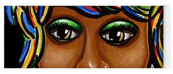 Abstract Art Black Woman Retro Pop Art Painting- Ai P. Nilson Yoga Mat