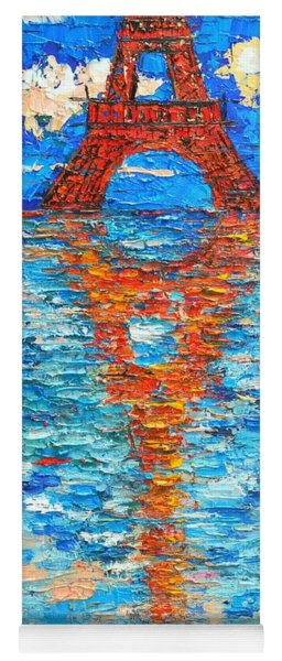 Abstract Paris Eiffel Tower Reflections Textured Palette Knife Oil Painting By Ana Maria Edulescu Yoga Mat