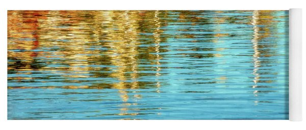 Abstract Reflections In Camden Harbor Maine Yoga Mat
