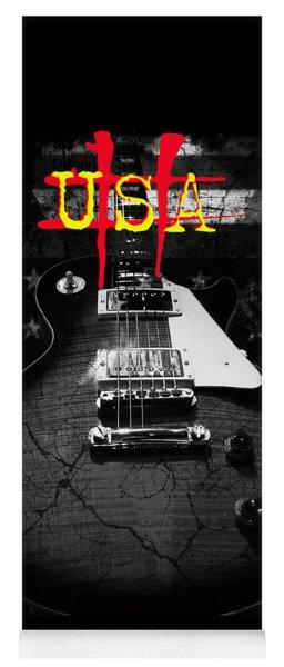 Abstract Relic Guitar Usa Flag Yoga Mat