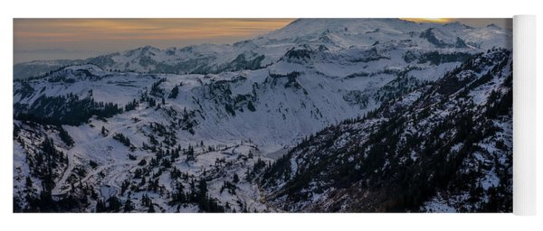 Aerial Mount Baker Dusk Snowscape Yoga Mat