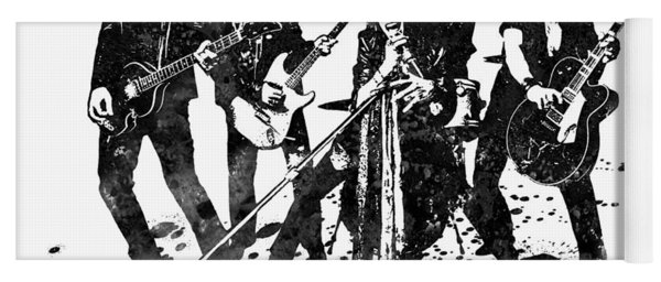 Aerosmith Band Black And White Watercolor 02 Yoga Mat