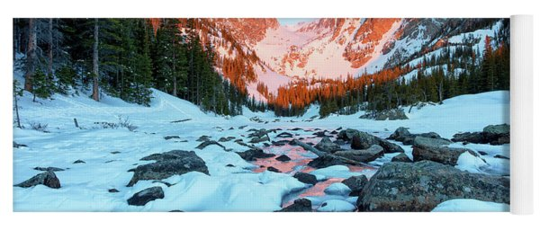 Alpenglow At Dream Lake Rocky Mountain National Park Yoga Mat