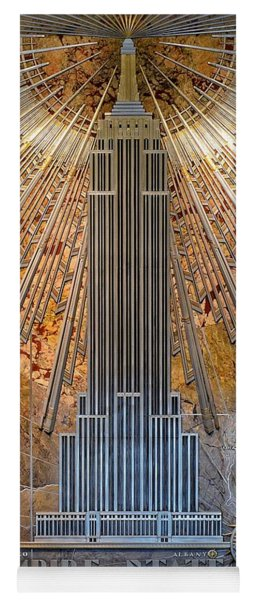 Yoga Mat featuring the photograph Aluminum Relief Inside The Empire State Building - New York by Marianna Mills
