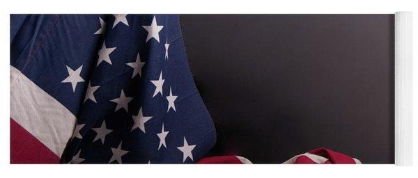 American Flag Draped On Itself Yoga Mat
