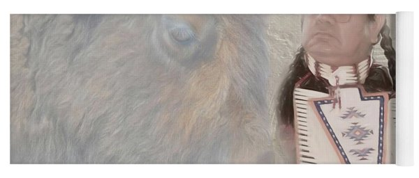 American Indian And Buffalo Yoga Mat