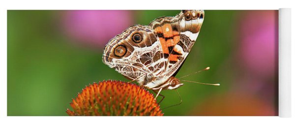 Yoga Mat featuring the photograph American Painted Lady Butterfly by Christina Rollo