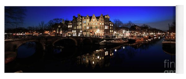 Yoga Mat featuring the photograph Amsterdam Canal Panorama At Night by IPics Photography