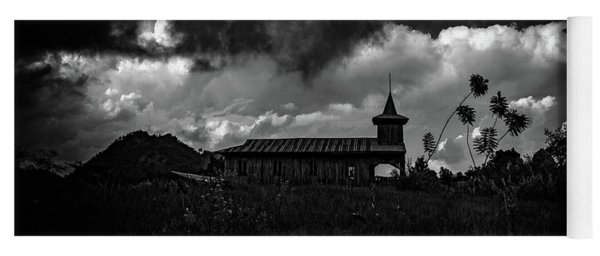 Ancient Wooden Church With Storm Clouds Yoga Mat