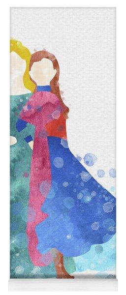 Anna And Elsa Watercolor Yoga Mat