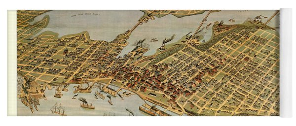 Antique Bird's Eye View Map Of The City Of Vancouver - Old Cartographic Map - Antique Maps Yoga Mat