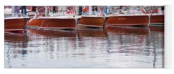 Antique Classic Wooden Boats In A Row Panorama 81112p Yoga Mat