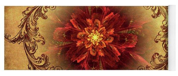 Antique Foral Filigree In Crimson And Gold Yoga Mat