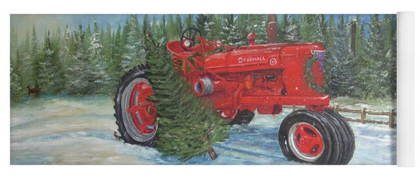 Antique Tractor At The Christmas Tree Farm Yoga Mat