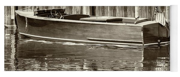 Antique Wooden Boat By Dock Sepia Tone 1302tn Yoga Mat