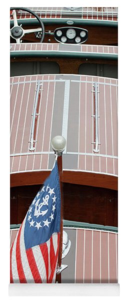 Antique Wooden Boat With Flag 1303 Yoga Mat