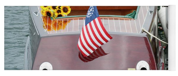 Antique Wooden Boat With Flag And Flowers 1304 Yoga Mat