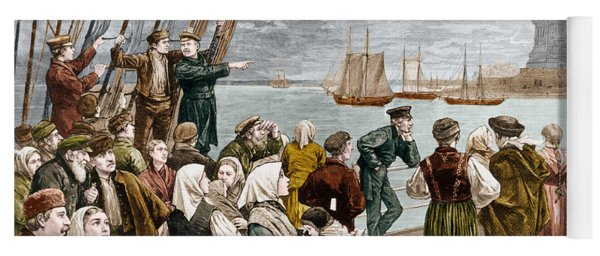 Arrival Of Emigrants In New York In 1887 In The Background, The Statue Of Liberty Yoga Mat