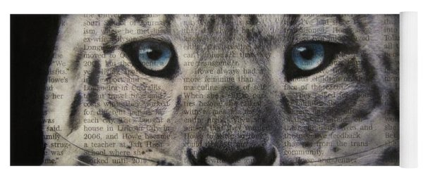 Yoga Mat featuring the drawing Art In The News 150- Snow Leopard by Michael Cross