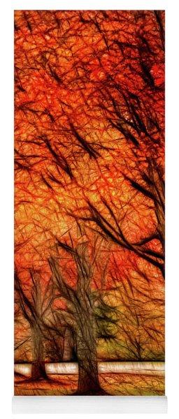 Artistic Four Fall Trees Yoga Mat