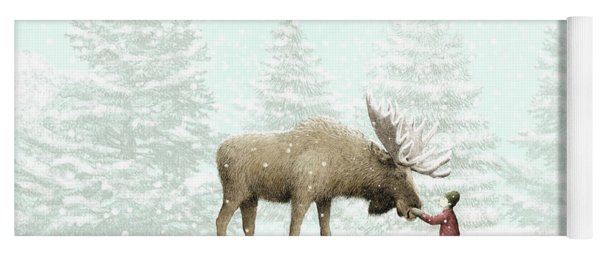 Winter Moose Yoga Mat