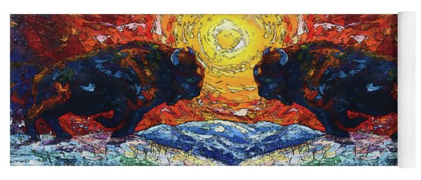 Bison Running Print Of Olena Art Wild The Storm Oil Painting With Palette Knife  Yoga Mat