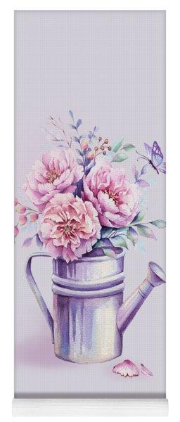 Yoga Mat featuring the painting Pink Peonies Blooming Watercolour by Georgeta Blanaru
