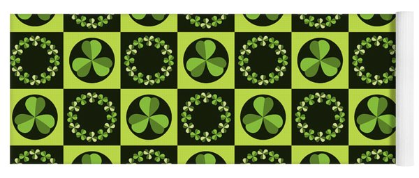 Green Shamrocks Circles And Squares Yoga Mat