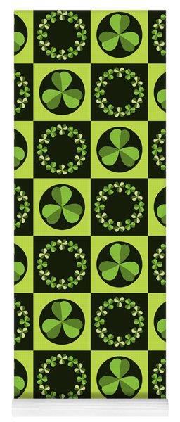 Green Shamrocks Circles And Squares Yoga Mat
