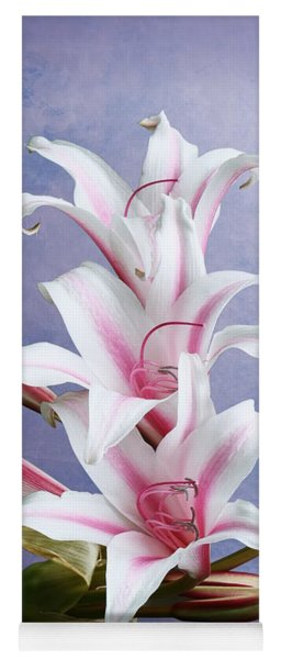 Pink Striped White Lily Flowers Yoga Mat