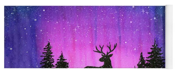 Winter Forest Galaxy Reindeer Yoga Mat