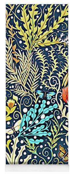 Tapestry Design, With Butterflies, Autumn Colored Foliage On A Dark Blue Background  Yoga Mat