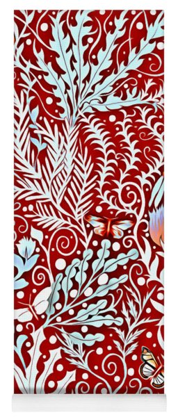 Tapestry Design In Brick Red With White Butterflies And Celadon Colored Foliage Yoga Mat