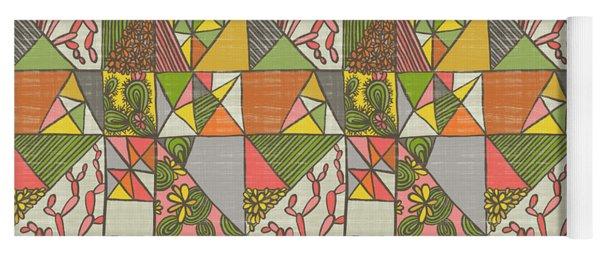 Geometric Flowering Cacti Yoga Mat