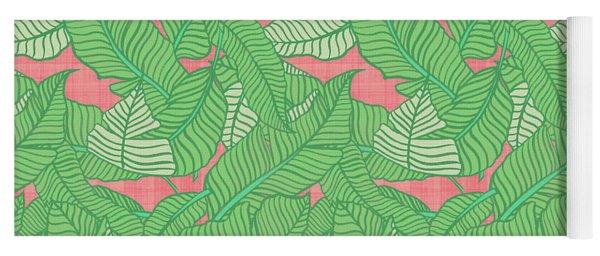 Banana Leaf Pattern Pink Yoga Mat