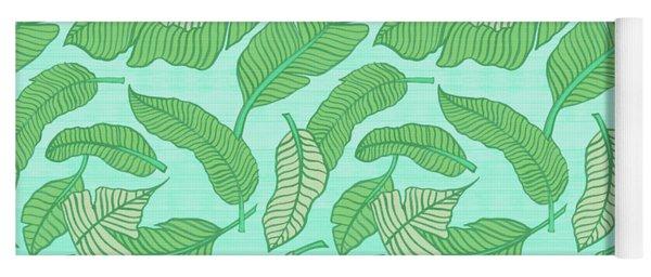 Banana Leaf Pattern Blue Yoga Mat