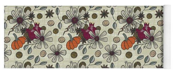 Fall Pumpkin Botanical Pattern Cream Background Yoga Mat