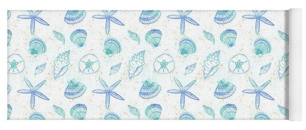 Vibrant Seashell Pattern White Background Yoga Mat