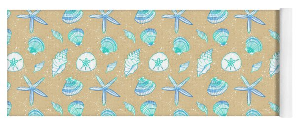 Vibrant Seashell Pattern Tan Sand Background Yoga Mat