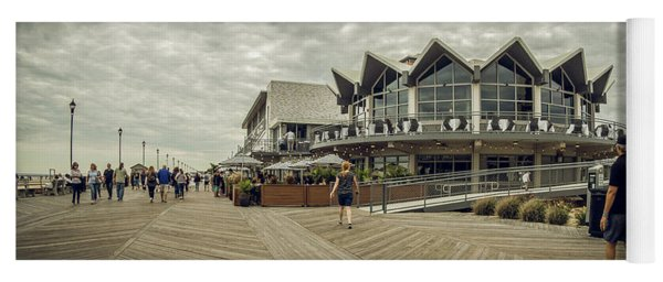 Yoga Mat featuring the photograph Asbury Park Boardwalk Looking South by Steve Stanger