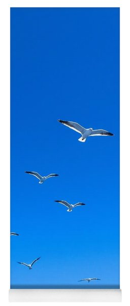 Group Of Seagulls On Blue Sky In The Argentine Patagonia Yoga Mat