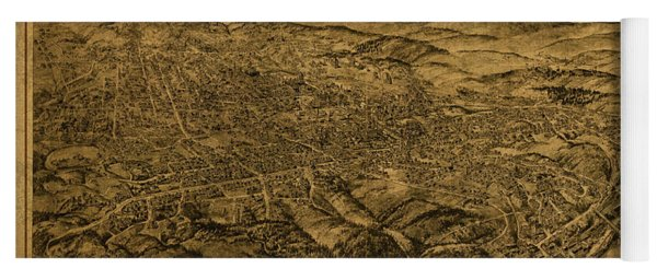Asheville North Carolina Vintage City Street Map Birds Eye View 1912 Yoga Mat