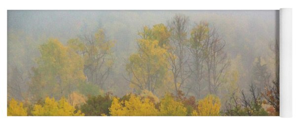 Aspen Trees In Fog Yoga Mat